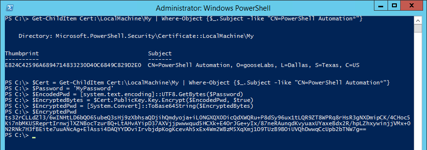 Using a certificate to encrypt credentials in automated PowerShell